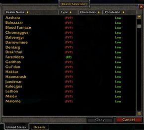 A portion of the in-game realm selection list