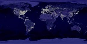 A composite image of the Earth at night makes the world's biggest power consumers stand out.