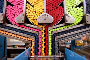Petroleum products help make crayons, like these pictured at a Pennsylvania Crayola plant.