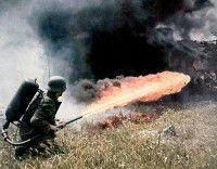 A flamethrower at work.