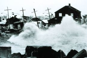 Surf pounds Peggotty Beach, Mass. during the storm of 1978.