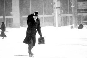 A man braves the elements during the blizzard of 1996.