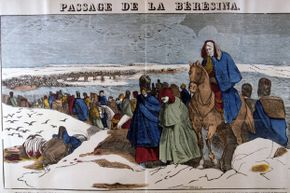 This 19th century French woodcut depicts Napoleon's retreat from Moscow.