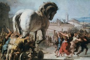 The Trojan Horse being taken into Troy as depicted by Venetian painter Giovanni Domenico Tiepolo circa 1760.