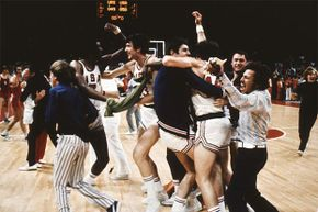 The U.S. team celebrates, mistakingly thinking they've won over the Soviet Union in the Olympic basketball final of 1972. After the game clock was reset, the Soviets won. The U.S. refused the silver which still sits in a vault in Switzerland.