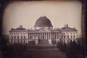 A view of the U.S. Capitol building a few years before the 1851 fire would destroy thousands of books.