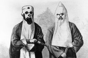 This 1866 wood engraving depicts two members of the Ku Klux Klan. The white sheet and hood were supposed to represent the ghosts of Confederate soldiers risen from the dead to seek revenge.