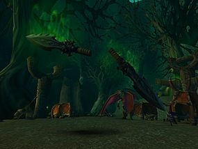 Grom Hellscream drank the blood of the demon Mannoroth, gaining power for the orcs but essentially making them Mannoroth's slaves. Grom eventually killed Mannoroth, freeing his people from the demon's curse and dying in the process. Mannoroth's weapon still hovers over Ashenvale, near a monument to the fallen orc.