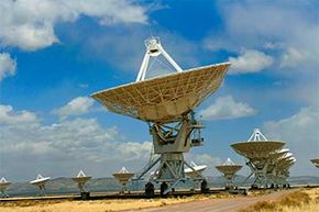 The Very Large Array (VLA) is a set of 27 radio telescopes in New Mexico normally used for weather tracking and astronomical investigation. It was used to try and reproduce the 'Wow!' signal -- to no avail.