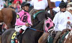 Along with his jockey, Patrick Valenzuela, the horse Comma rode to a top spot during the 137th Kentucky Derby.