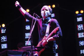 Ben Gibbard of The Postal Service performs during the Coachella Music Festival in Indio, Calif., on April 13, 2013.
