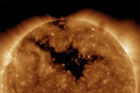 That's a big, dark hole, yes, but it is most definitely not a black hole sun. It's a coronal hole actually.