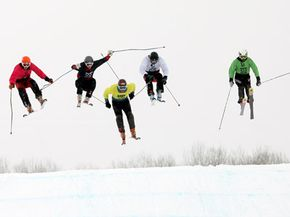 Winter Sports Image Gallery Competitors in the Winter X Games race through the men's Skier X event. See more pictures of winter sports.
