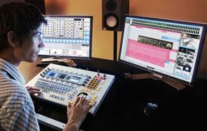 An audio engineer uses Xynergi to manipulate tracks.