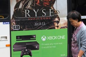 """Tie-in advertising for the Xbox One and """"Ryse: Sone of Rome,"""" a game developed by Microsoft as an exclusive release title for the new console."""