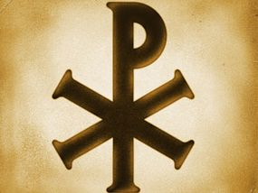 """The Greek symbol chi-rho is represented in the X for """"chi"""" and the rho for """"r"""" to combine the word, """"Christ."""""""