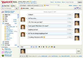 Yahoo Mail users can conduct instant messaging with contacts.