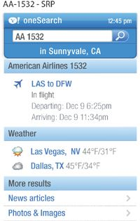 With Yahoo's oneSearch, users can look for information like flight times.