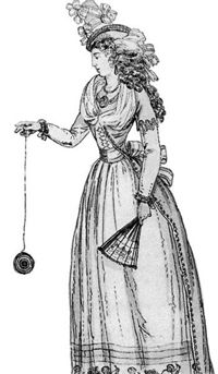 """A woman playing with an early form of the yo-yo, called a """"Jou Jou,"""" from a French fashion journal c. 1791"""