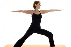Warrior II, often done with Warrior I, stretches the chest and shoulders as well as the legs.