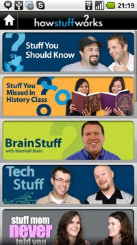 A view of the HowStuffWorks shows, which you can browse in the HowStuffWorks Android app