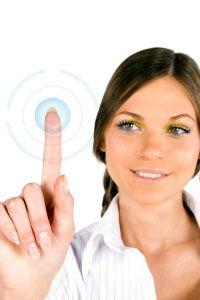 Businesswoman Touching Digital Screen