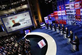 YouTube Image Gallery In 2007, CNN and YouTube partnered to let average Americans ask debate questions to presidential hopefuls. Here, the Republican candidates answer YouTubers' questions. See more YouTube pictures.