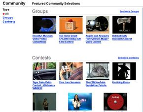 YouTube's community page shows featured selections of popular groups and contests.