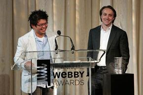 YouTube cofounders Steve Chen and Chad Hurley accept the Webby Person of the Year award at the 11th Annual Webby Awards on June 5, 2007, in New York City.