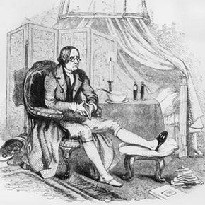 This gentleman looks none too happy to have gout. He rests his foot on a stool with the slipper slit to accommodate the painful swelling.