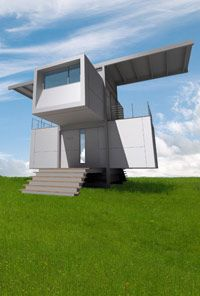 The rainwater collection system on top of the zeroHouse uses gravity to provide water to the inhabitants.