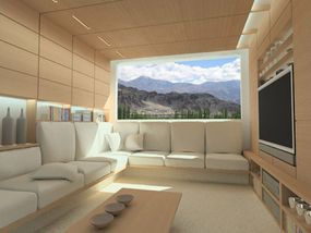 As a prefabricated construction, the zeroHouse comes with built-in amenities, such as the couch and TV.