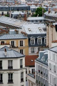 Many roofs in Paris are made of zinc.