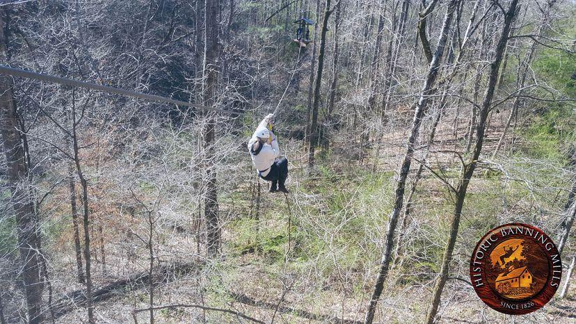 ziplining at Banning Mills