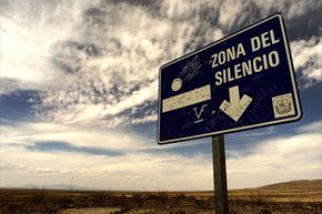 A road sign points the way to a patch of northern Mexican desert known as the Zone of Silence.