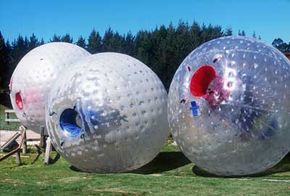 Zorb riders enter through these blue and red openings.