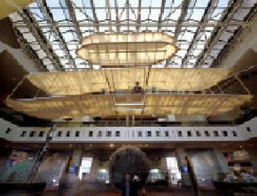 Wright's flyer suspended at the National Air and Space Museum
