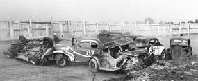 Crashes were plentiful in the action-packed 1947 NCSCC events. The drivers often snagged bumpers and tipped over, triggering massive pileups. Safety paraphernalia was virtually nonexistent. Nearly a dozen drivers required hospitalization during