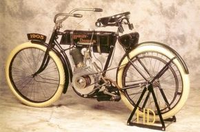 The 1905 Harley-Davidson looked very similar to the original 1903 model. See more motorcycle pictures.