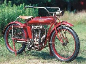 The 1913 Indian 61 Twin has a V-twin engine, which comprised 90 percent of Indian's engine