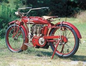 The 1913 Indian 61 Twin made use of leaf springs for not only its front and rear wheels, but as a suspension for the rider's seat, too.