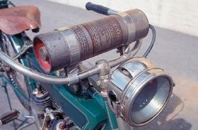 The 1913 Read Standard motorcycle's Prest-O-Lite was fired by acetylene gas.