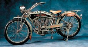 Upper frame tubes that followed the contour of the fuel tank were a notable feature of Iver Johnson motorcycles, including this 1915 model.