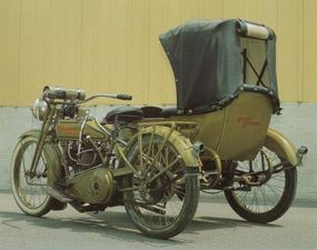 By 1918 the V-twin engine was a fixture on models such as the Harley-Davidson 18-J.