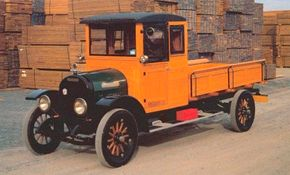 The 1925 Brockway E-3000 pickup was built by hand one at a time. Both cab and pickup box were made almost entirely of ash and oak. See more classic truck pictures.