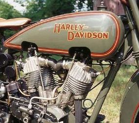 The famous 74-cubic-inch V-twin Harley engine.