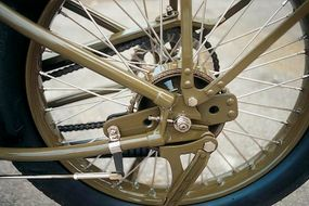 The BA's external-band rear brake was sufficient for the bike's modest speed potential.