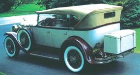 Phaeton's options included adjustable wire-spoke wheels, dual sidemounts, a luggage rack, wind wings, and chrome hubcaps.