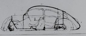 The lack of a rear window is evident in this drawing for the 1935 Volkswagen V3 concept.