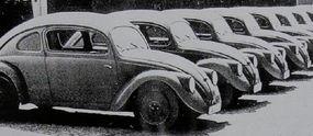 A fleet of Volkswagen V30 Beetle prototypes underwent testing by SS officers stationed near Stuttgart, Germany.